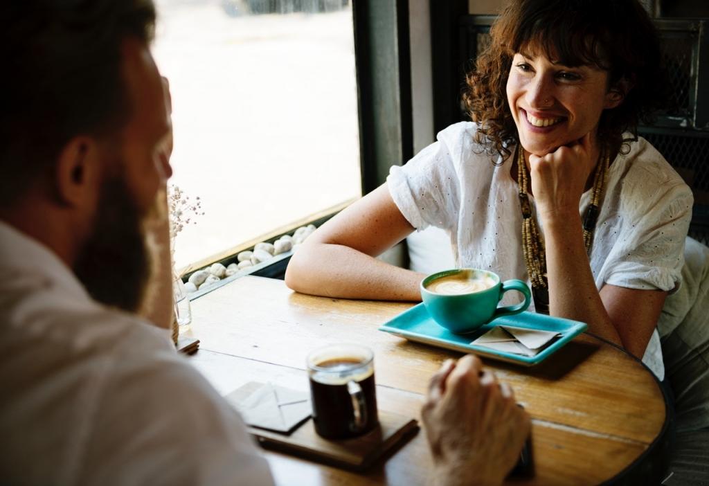 Man and women talking